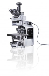mirrored, white background, Automated fluorescence microscope, Ultrasonic motorised stage, touch panel, UIS2 optical system, ergonomics, digital camera, old asset name:BX63_001_V1_20100730_309.psd